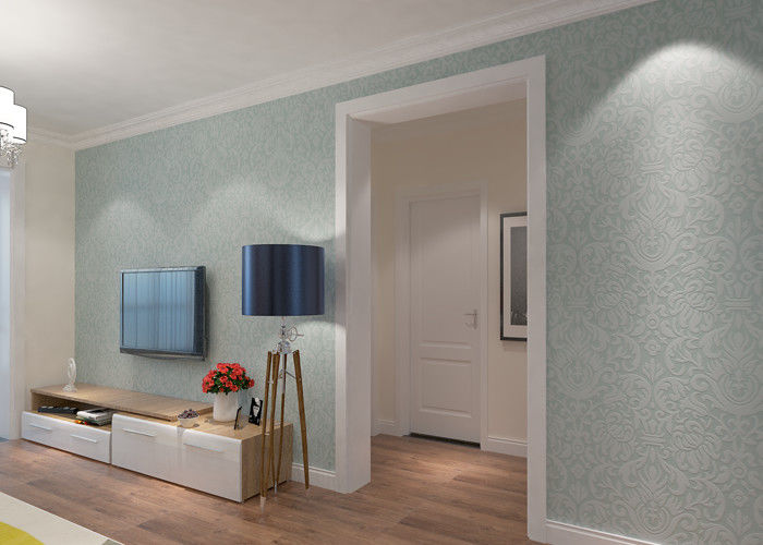 Sky Blue PVC Accurate Pressing Victorian Damask Wallpaper for Corridor , SGS Approved