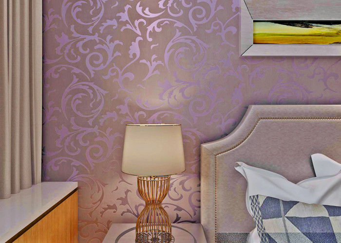Embossed Removable European Style Purple Flower Wallpaper For TV Background
