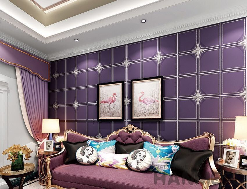 Purple Color Suede Wallpaper Geometric Design Sofa Backgroung Chinese Factory Supplier